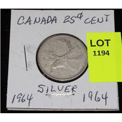 CANADA SILVER QUARTER-1964