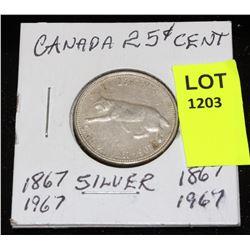 CANADA SILVER QUARTER-1967