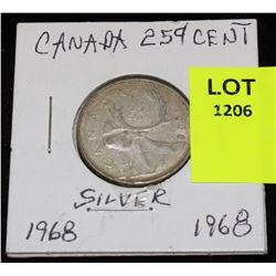 CANADA SILVER QUARTER-1968