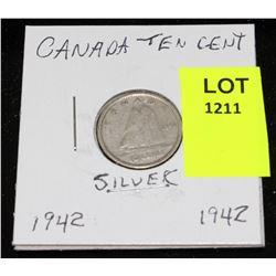 CANADA SILVER DIME-1942