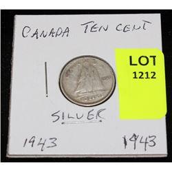 CANADA SILVER DIME-1943