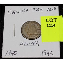 CANADA SILVER DIME-1945