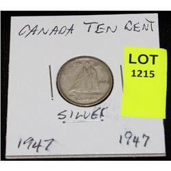 CANADA SILVER DIME-1947
