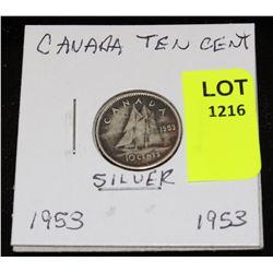CANADA SILVER DIME-1953