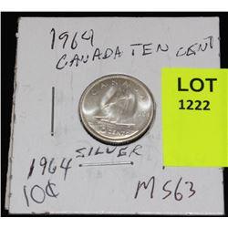 CANADA SIVER DIME-1964