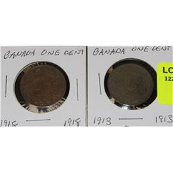 2 CANADA LARGE PENNIES-1913 & 1918