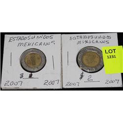 2-ESTADOSUNIDOS MEXICANOS-$2 COINS-2007