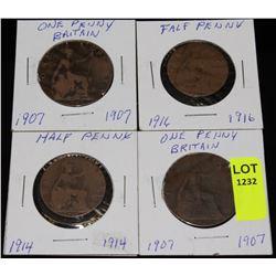 GREAT BRITAIN 2-1907 1 PENNIES & 2 HALF PENNIES
