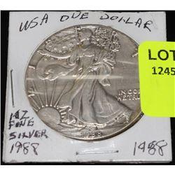 US 1988- 1 OUNCE FINE SILVER DOLLAR
