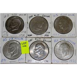 6 US DOLLARS-1971,74,76,1776-1976X2,&77