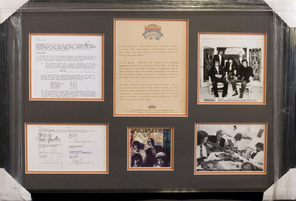 Traveling Wilburys Rare Framed Group Signed Document With Tom Petty Bob Dylan George Harrison Jef