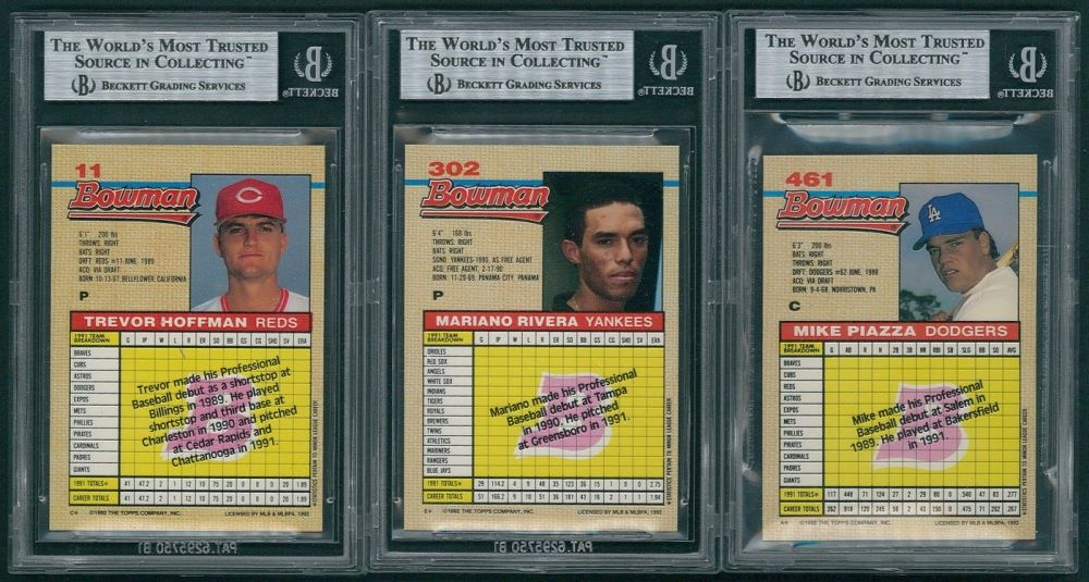 Lot Of 3 Bgs Graded 1992 Bowman Baseball Cards With 11 Trevor