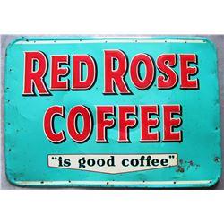 NO RESERVE! RED ROSE COFFEE METAL SIGN VINTAGE EMBOSSED ST THOMAS METAL SIGNS