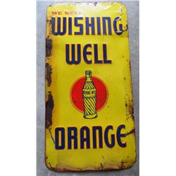 NO RESERVE! WISHING WELL ORANGE VINTAGE METAL SIGN CIRCA 1950 - VERY RARE