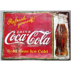 """NO RESERVE! COCA-COLA """"REFRESH YOURSELF"""" VINTAGE SIGN CIRCA 1930!"""