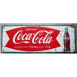 "NO RESERVE! COCA COLA VINTAGE SIGN ""ENJOY THAT REFRESHING NEW FEELING"" CIRCA 1961"