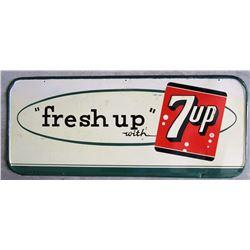 "NO RESERVE! 7 - UP ""FRESH UP 7-UP"" VINTAGE SIGN CIRCA 1954"
