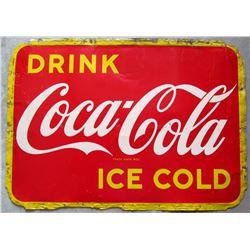 """NO RESERVE! COCA-COLA """"ICE COLD"""" VINTAGE SIGN CIRCA 1951"""