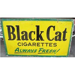 """NO RESERVE! HUGE BLACK CAT CIGARETTES """"ALWAYS FRESH"""" VINTAGE SIGN CIRCA 1950"""