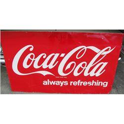 "NO RESERVE! HUGE COCA-COLA ""ALWAYS REFRESHING"" VINTAGE ORIGINAL SIGN"