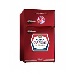 "Boston Pizza/ Molson Canadian fridge perfect for the lake, garage or man-cave. This fridge is 19"" De"