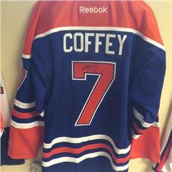 Autographed Paul Coffey Edmonton Oiler's Jersey. Donated By: Dan Demchenko, Franchisee, Saskatoon
