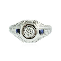 18KT White Gold 0.46 ctw Sapphire and Diamond Ring