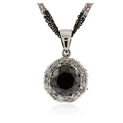 14KT White Gold 8.69 ctw Black Diamond Pendant With Chain