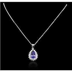 14KT White Gold 3.98 ctw Tanzanite and Diamond Pendant With Chain