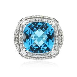 14KT White Gold 13.29 ctw Topaz and Diamond Ring