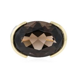 14KT Yellow Gold 20.17 ctw Smokey Quartz and Diamond Ring