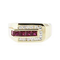 14KT Yellow Gold 0.90 ctw Ruby and Diamond Ring