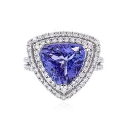 18KT White Gold 5.22 ctw Tanzanite and Diamond Ring