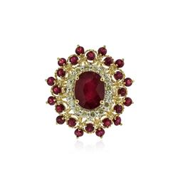 14KT Yellow Gold 5.29 ctw Ruby and Diamond Ring