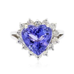 14KT White Gold 4.54 ctw Tanzanite and Diamond Ring