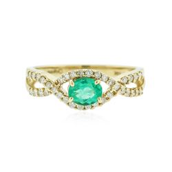14KT Yellow Gold 0.43 ctw Emerald and Diamond Ring