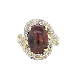 PLATED SILVER 11.87 ctw Ruby and White Sapphire Ring