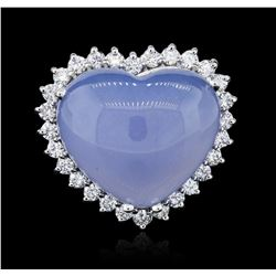 14KT White Gold 32.59 ctw Agate and Diamond Ring