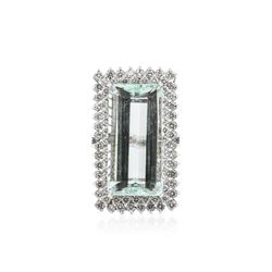 14KT White Gold GIA Certified 37.30 ctw Aquamarine and Diamond Ring