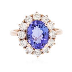 14KT Rose Gold 3.30 ctw Tanzanite and Diamond Ring