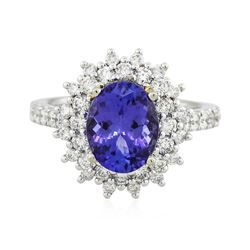 14KT White and Yellow Gold 2.83 ctw Tanzanite and Diamond Ring