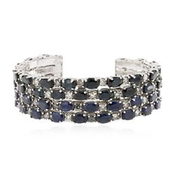 Two-Tone 25.20 ctw Sapphire and Diamond Bracelet