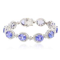 14KT White Gold 21.00 ctw Tanzanite and Diamond Bracelet