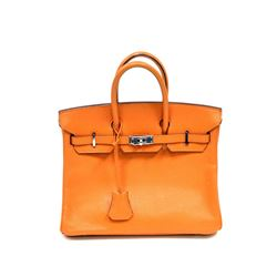 Authentic Vintage Hermes 25cm Birkin Bag in Orange Ardenne Leather with Palladiu