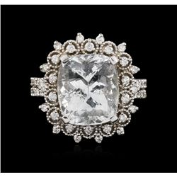 14KT White Gold 6.39 ctw Aquamarine and Diamond Ring