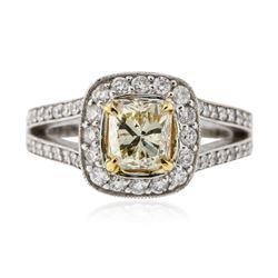 14KT White Gold 1.23 ctw SI-2/Light Yellow Diamond Ring