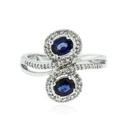 14KT White Gold 0.92 ctw Sapphire and Diamond Ring
