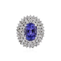 14KT White Gold 4.46 ctw Tanzanite and Diamond Ring