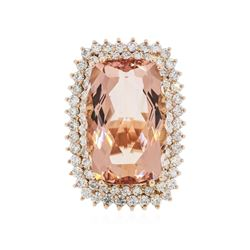 14KT Rose Gold 24.92 ctw Morganite and Diamond Ring
