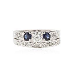14KT White Gold 0.85 ctw Diamond and Sapphire Wedding Ring Set